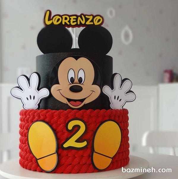 کیک دو طبقه جشن تولد کودک با تم مینی موس (Minnie Mouse)