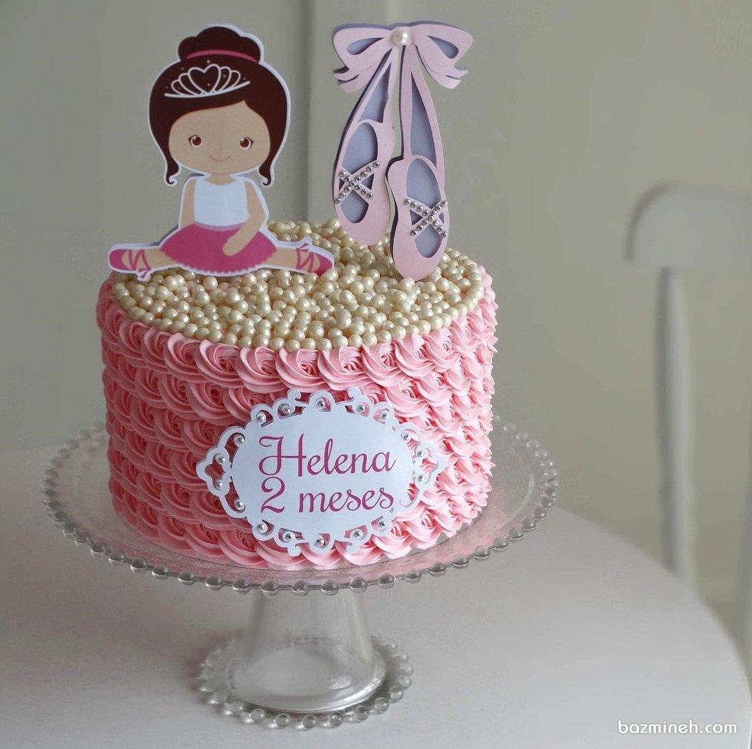 کیک خامه ای جشن تولد دخترونه با تم بالرین