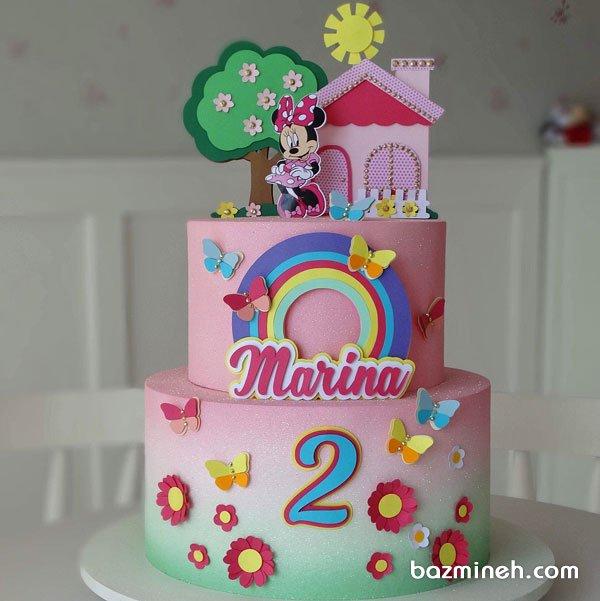 کیک دو طبقه فانتزی جشن تولد دخترونه با تم مینی موس (Minnie Mouse)