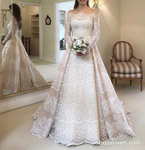 لباس عروس شیک آستین دار با یقه مدل قایقی باز