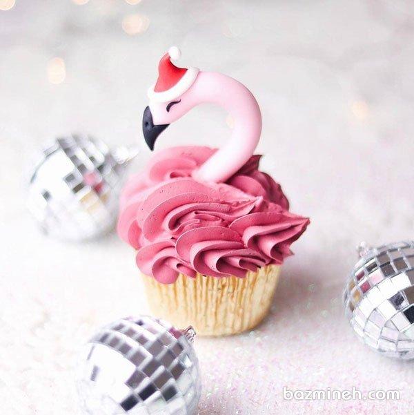 کاپ کیک جشن تولد با تم فلامینگو