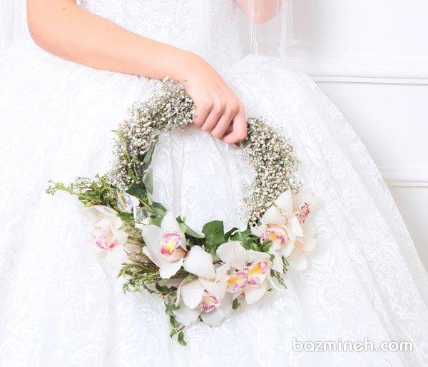حلقه گل زیبا و متفاوت عروس مناسب برای عروس خانمهای خاص پسند