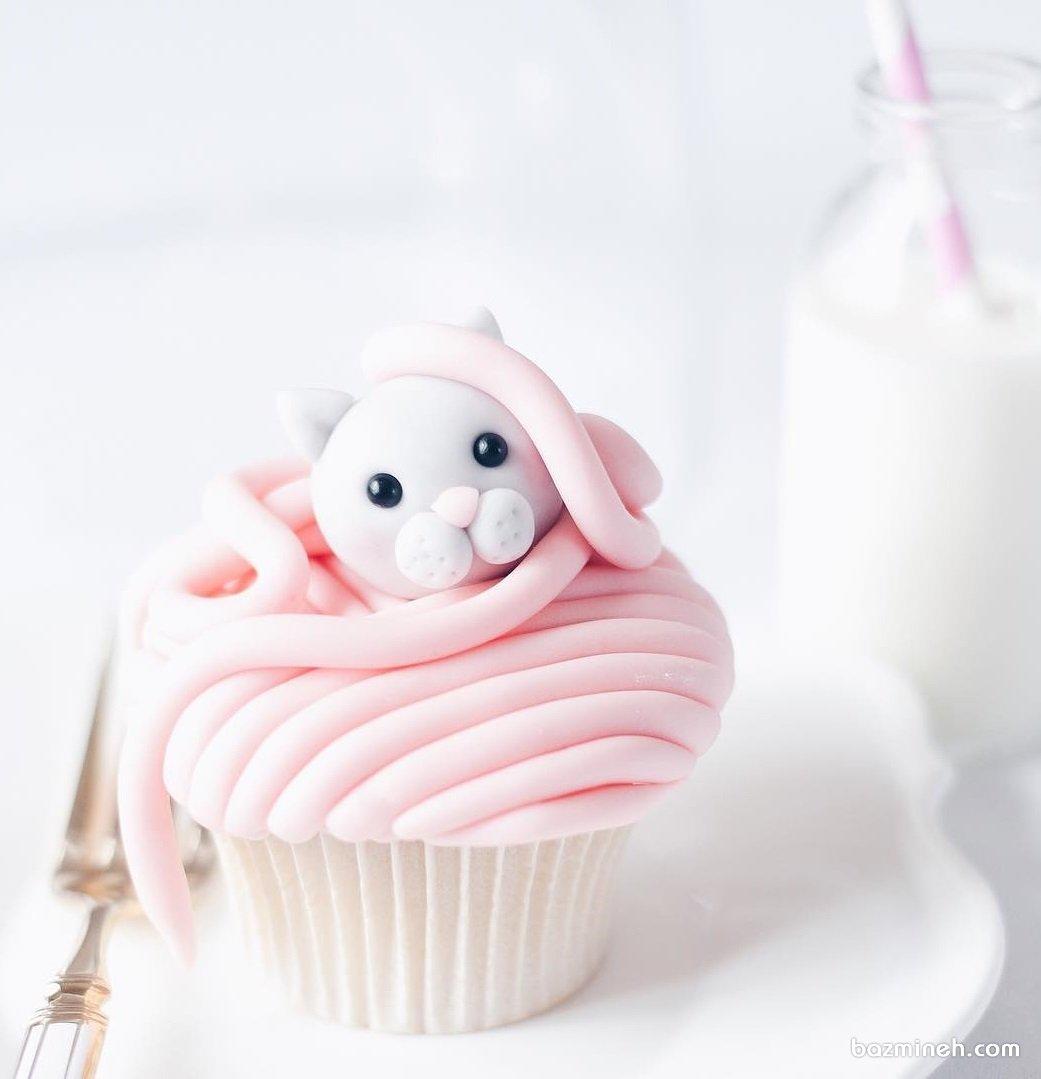 کاپ کیک عروسکی جشن تولد دخترونه با تم پیشی کوچولو