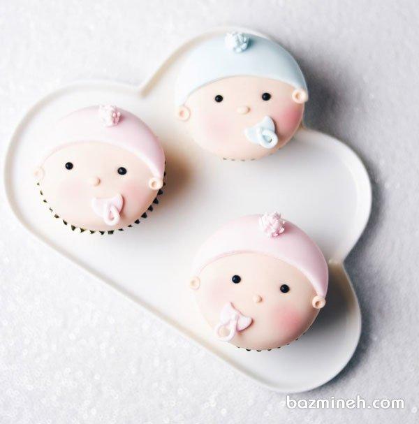کاپ کیک های بامزه جشن تعیین جنسیت یا جشن بیبی شاور