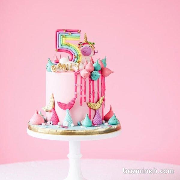 کیک جشن تولد پنج سالگی دخترونه با تم یونیکورن و پری دریایی