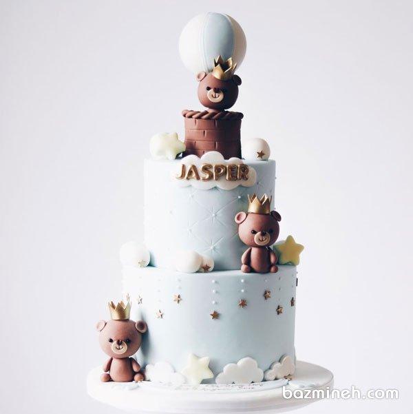کیک دو طبقه جشن بیبی شاور یا تولد پسرونه با تم خرس تدی و بالن