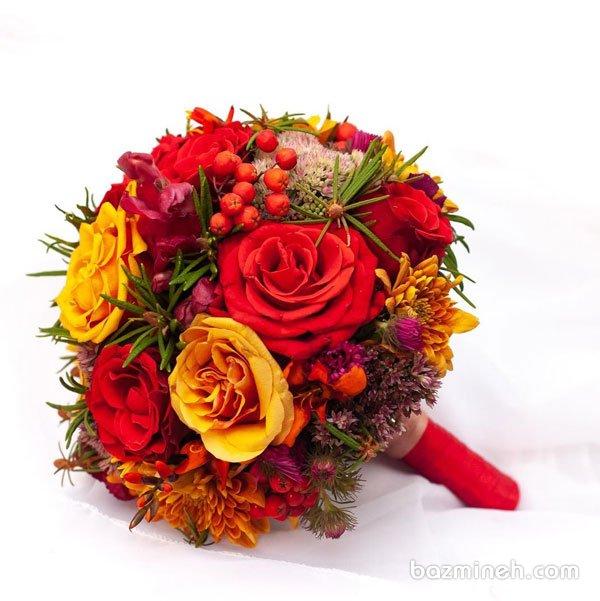 دسته گل عروس با تم پائیزی