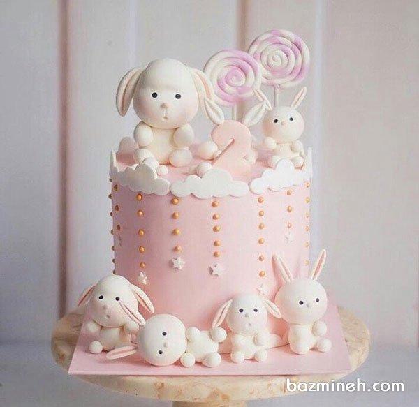 کیک فانتزی جشن تولد دو سالگی دخترونه با تم خرگوش