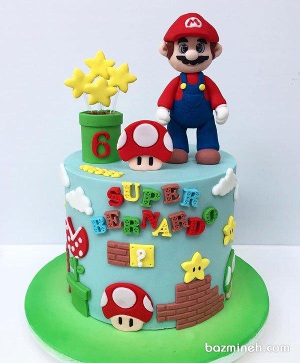 کیک فوندانت جشن تولد کودک با تم ماریو (قارچ خور)