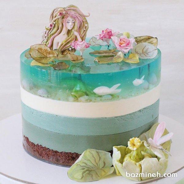 کیک رویایی جشن تولد دخترونه با تم پری دریایی