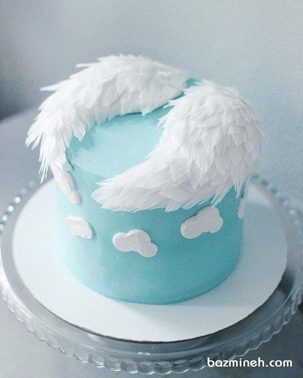 مینی کیک رویایی جشن بیبی شاور پسرونه با تم فرشته