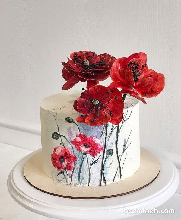 مینی کیک رمانتیک جشن تولد بزرگسال یا سالگرد ازدواج با تم گلهای شقایق