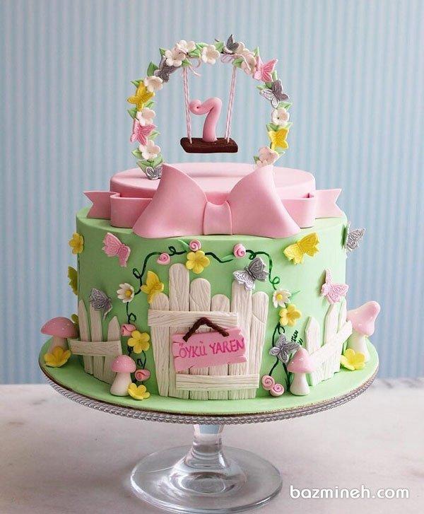 مینی کیک فوندانت فانتزی جشن تولد یکسالگی دخترونه