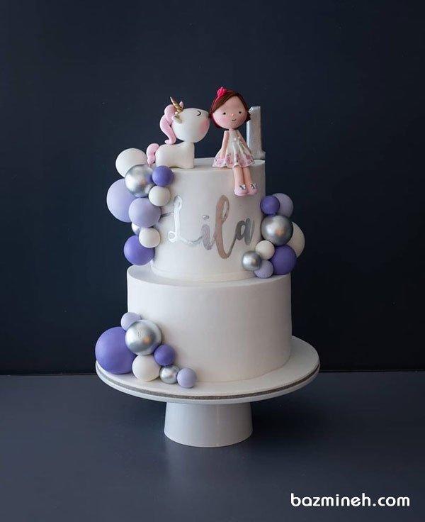 کیک دو طبقه رویایی جشن تولد یکسالگی دخترونه با تم یونیکورن (Unicorn)