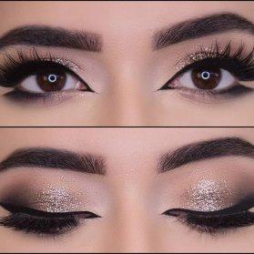آرایش دودی طلایی چشم با خط چشم کشیده مناسب برای میکاپ دخترونه