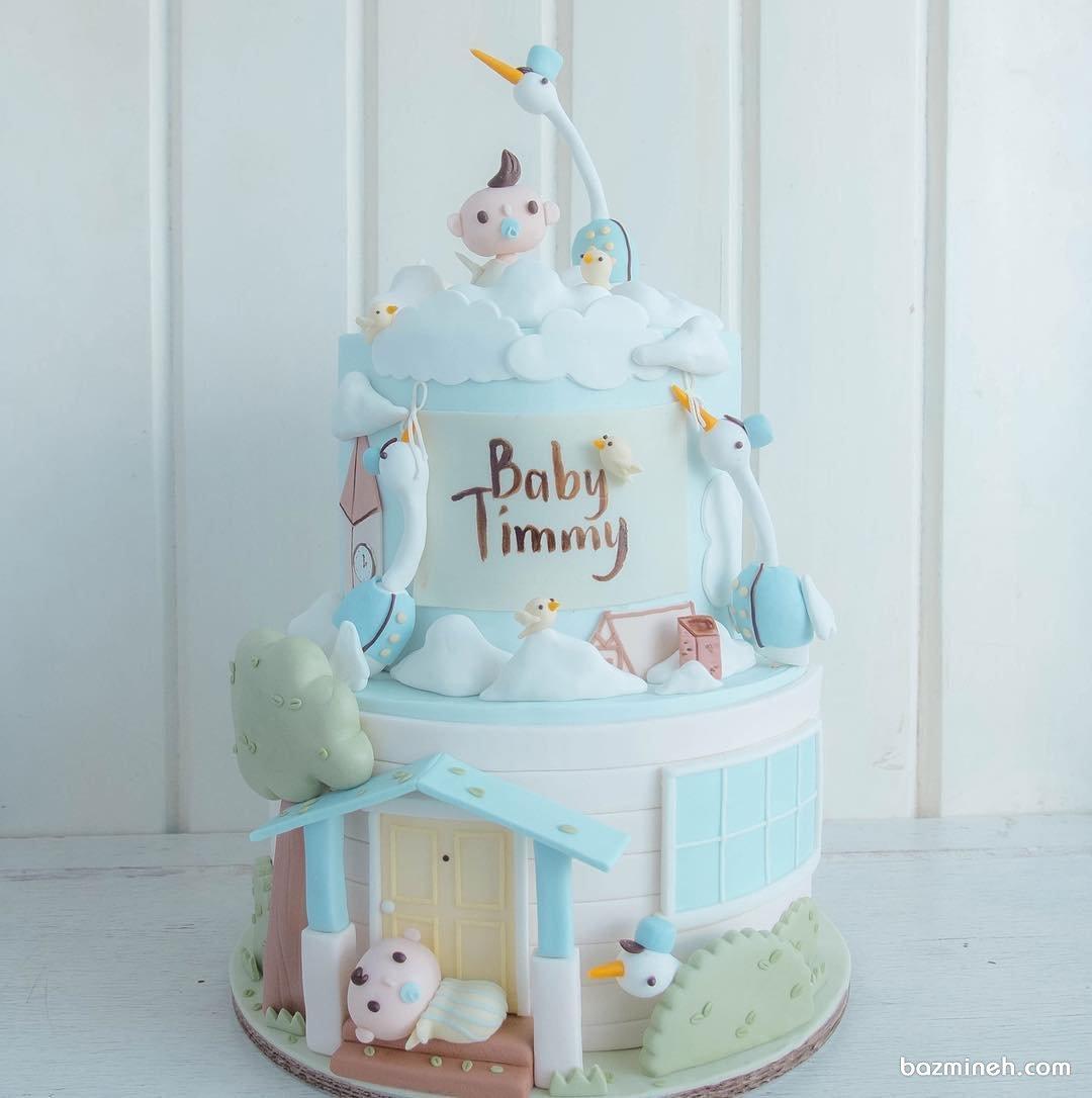 کیک دو طبقه فوندانت جشن بیبی شاور پسرونه با تم لک لکها