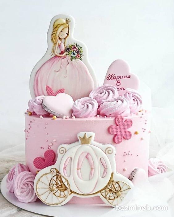 مینی کیک رویایی جشن تولد دخترونه با تم سیندرلا سفید صورتی