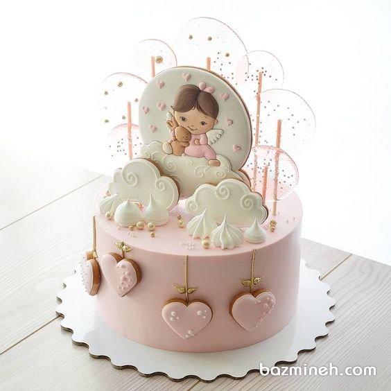 مینی کیک فانتزی جشن بیبی شاور دخترونه با تزیی کوکی و آبنبات چوبی