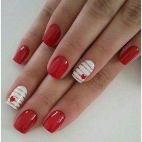 مدل طراحی ناخن کاشت مربعی با تم قرمز سفید زیبا برای روز عشق (ولنتاین)