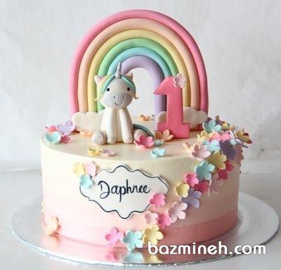 کیک جشن تولد دخترونه با تم اسب تک شاخ (Unicorn)