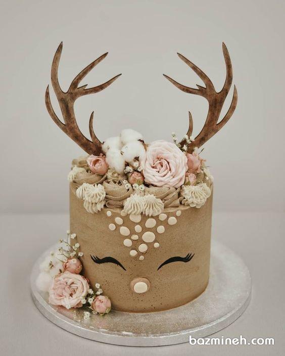 کیک خاص جشن تولد کودک با تم گوزن و زمستان