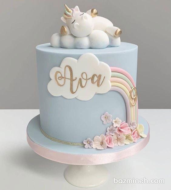 کیک فوندانت جشن تولد دخترونه با تم یونیکورن (اسب تک شاخ)