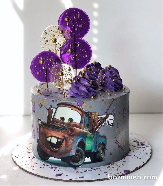 مینی کیک جشن تولد پسرونه با تم کارتون ماشینها (Cars)