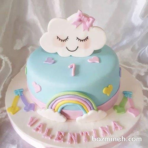 مینی کیک فوندانت جشن تولد یکسالگی دخترونه با تم ابر و رنگین کمان