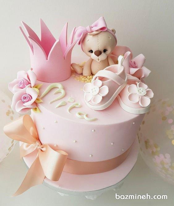 مینی کیک فانتزی عروسکی جشن بیبی شاور دخترونه با تم صورتی
