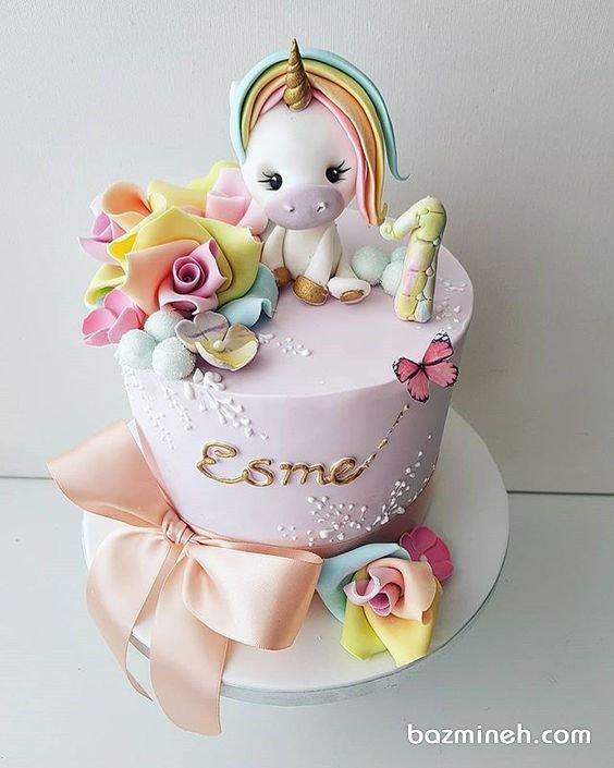 مینی کیک رویایی جشن تولد یکسالگی دخترونه با تم یونیکورن (Unicorn)