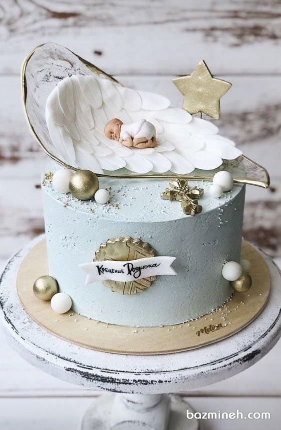مینی کیک فانتزی جشن بیبی شاور پسرونه با تم آبی طلایی