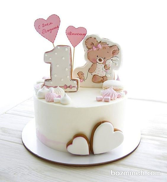 مینی کیک جشن تولد دخترونه با تزیین کوکی و ماکارون