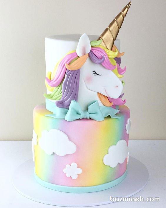 کیک دو طبقه جشن تولد دخترونه با تم یونیکورن (Unicorn)