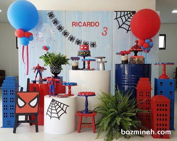 دکوراسیون و بادکنکآرایی جشن تولد پسرونه با تم مرد عنکبوتی