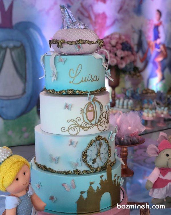 کیک چند طبقه فانتزی جشن تولد دخترونه با تم سیندرلا