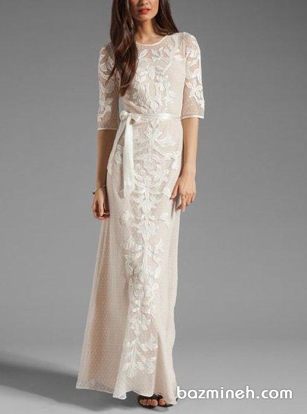 مانتو عقد جلو بسته شیری رنگ مناسب برای عروس خانم های خوش اندام