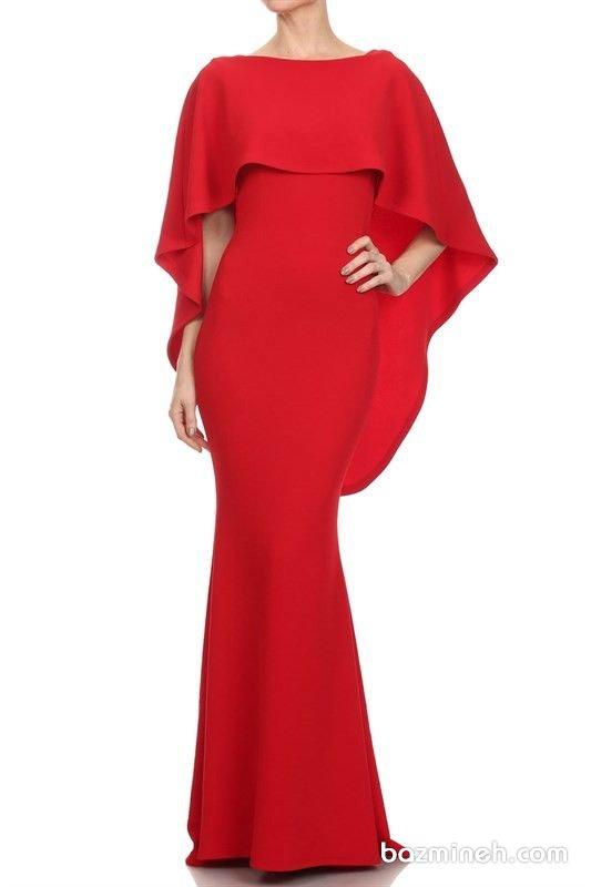پیراهن شیک ماکسی با پارچه کرپ قرمز رنگ مناسب برای لباس ساقدوش های عروس