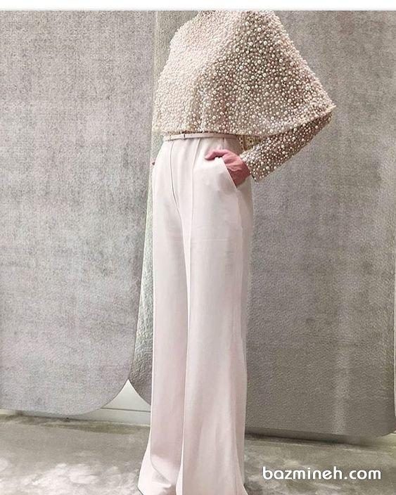 سرهمی (اورال) شیک شیری رنگ بالاتنه   مروارید دوزی شده مدلی پوشیده و زیبا برای عروس خانم ها در مراسم عقد