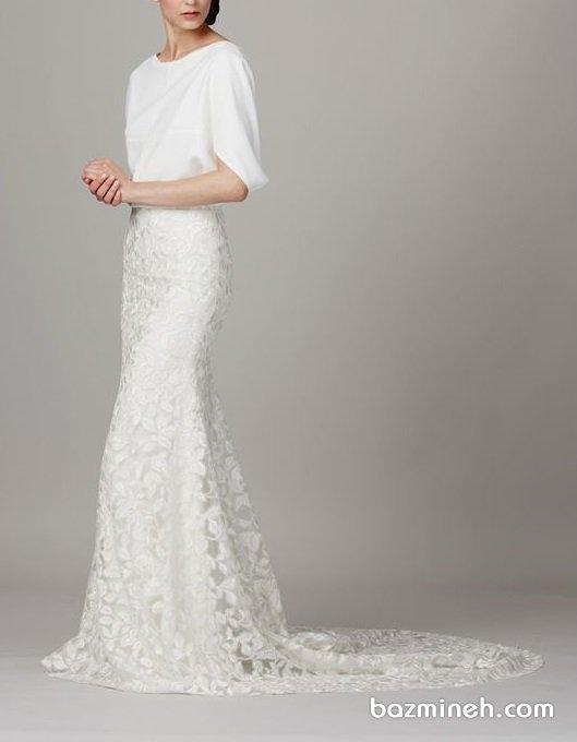 لباس مجلسی پوشیده سفید رنگ مناسب برای عروس خانمها در مراسم عقد محضری