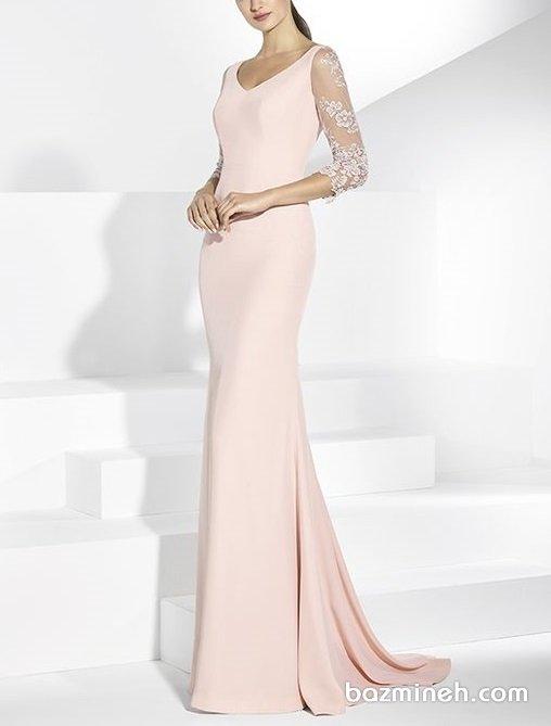 لباس مجلسی شیک پوشیده با آستینهای توری سه ربع مناسب برای عروس خانمهای ساده پسند در جشن نامزدی