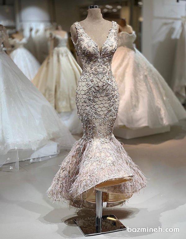 لباس مجلسی شیک زنانه با پارچه بژ رنگ سنگدوزی شده و دامن ماهی مدلی زیبا برای جشن نامزدی