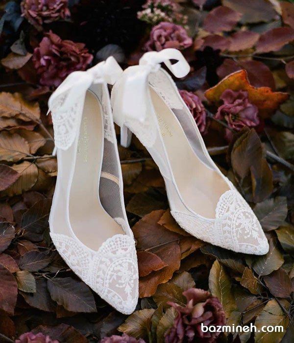 کفش عروس گیپوری زیبا برای عکاسی عروسی