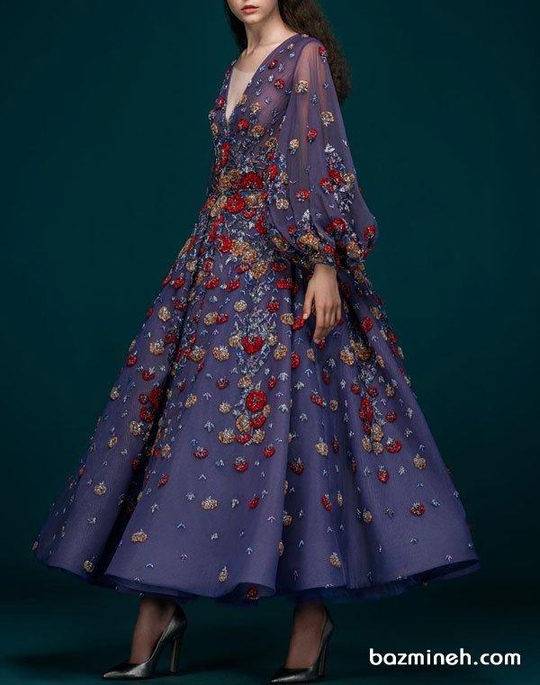 مدل یونیک و خاص مانتو عقد با پارچه حریر بنفش رنگ و گلدوزی زیبا