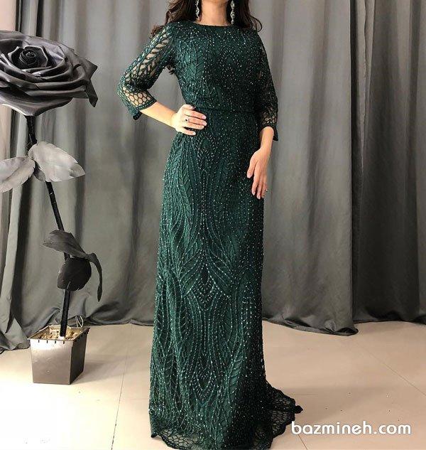 لباس شب پوشیده آستین دار گیپوری سنگدوزی شده یشمی رنگ