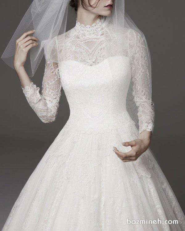 مدل بالا تنه لباس عروس پوشیده با آستین های گیپوری