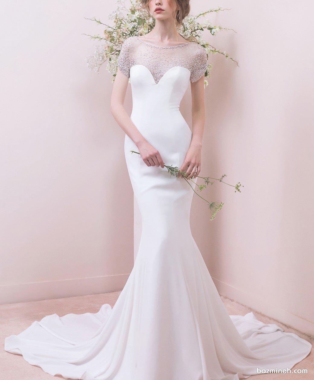 لباس عروس یونیک با دامن مدل ماهی دنباله دار مناسب برای عروس خانمهای لاغر اندام