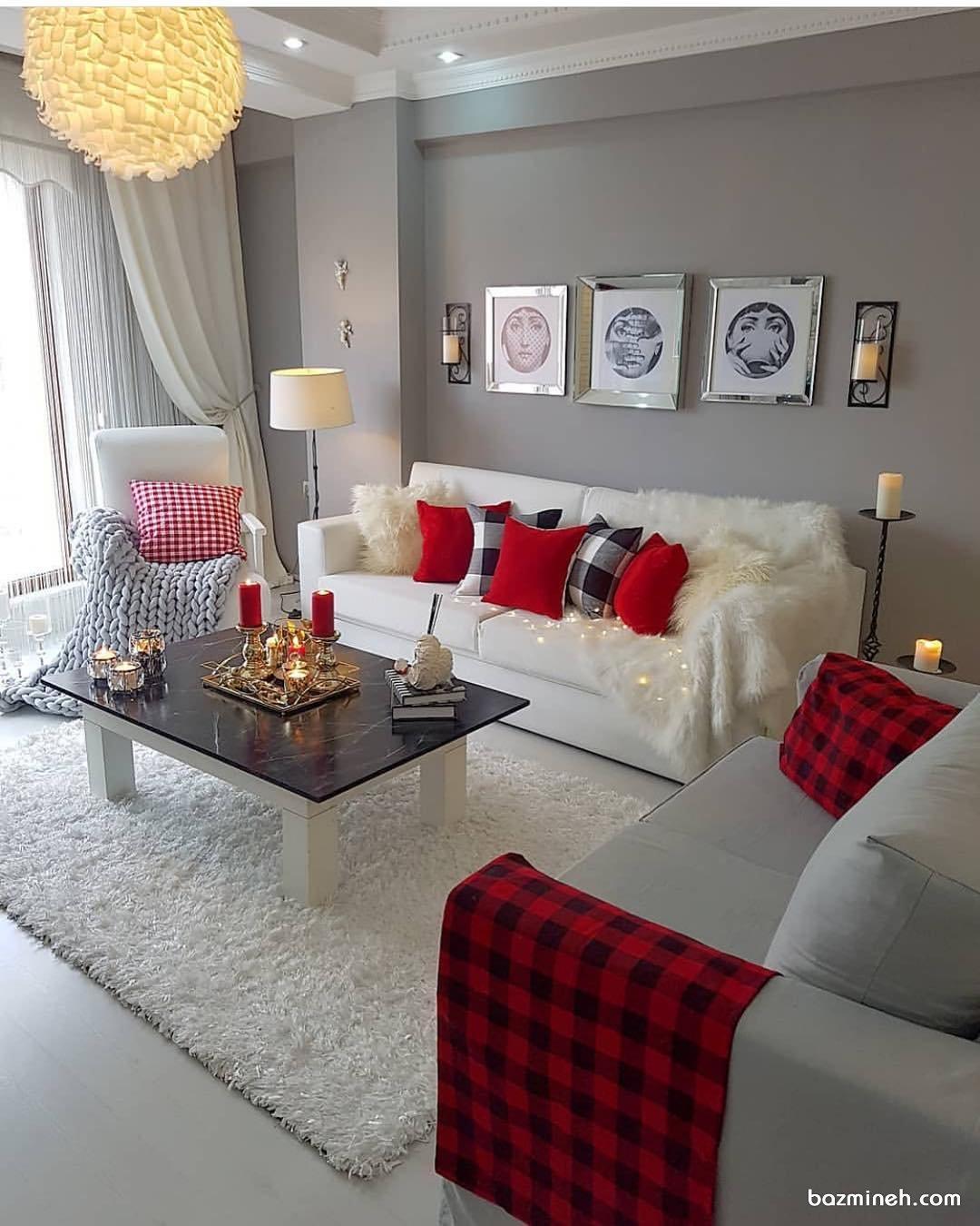 دکوراسیون مدرن منزل نوعروس با مبلمان ساده راحتی با تم رنگی سفید طوسی قرمز