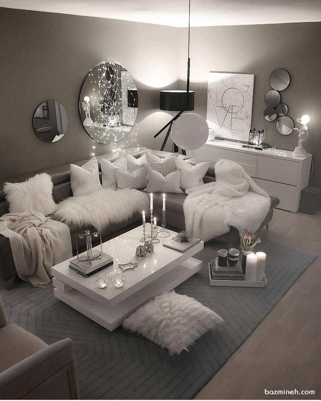 ایده دکوراسیون مدرن خانه نوعروس با تم سفید طوسی با نورپردازی حرفهای