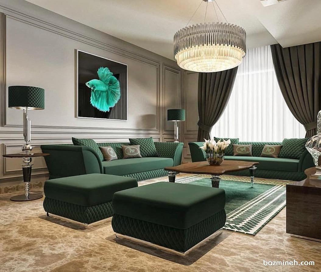 چیدمان جهیزیه خانه نوعروس به سبک کلاسیک و تم رنگی سبز سلطنتی