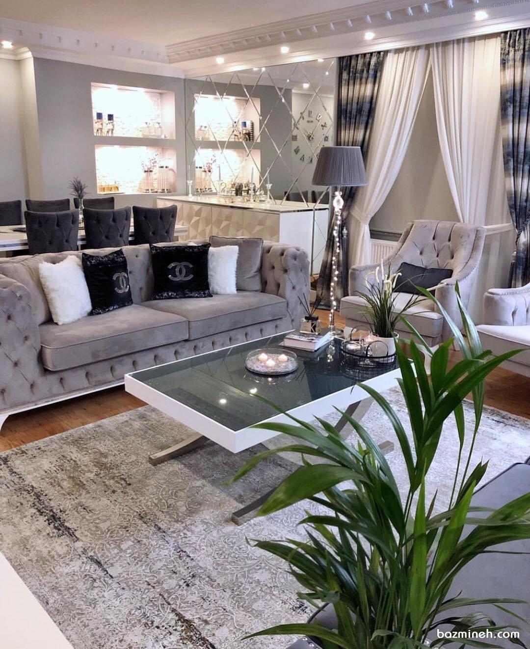 مدل دکوراسیون منزل عروس و داماد به سبک نئوکلاسیک با تم رنگی زیبای سفید طوسی